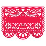 Mexican Papel Picado  template design - traditional red  pattern with blank text. Editable paper decoration inspired by traditional art from Mexico in red Royalty Free Stock Image