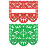 Mexican Papel Picado Vector Template Design Set, Cutout Paper Decorations Flowers And Geometric Shapes, Two Party Banners Royalty Free Stock Photo