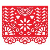 Mexican paper decorations - Papel Picado design, traditional fiesta banner inspired by garlands in Mexico. Cut out template with flowers and leaves, festive vector illustration
