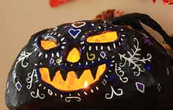 Mexican Paper Mache pumpkin for Day of the Dead Royalty Free Stock Photo