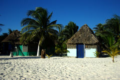 Mexican paradise. Kayaks and cabanas in  tropical paradise Tulum Mexico Stock Image