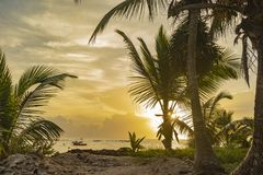 Mexican paradise sunrise stock image