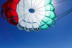 Mexican parasail wing pulled by the sea in the sky Royalty Free Stock Photo