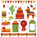 Mexican party. Items with pinata and tequila isolated on white Stock Photo