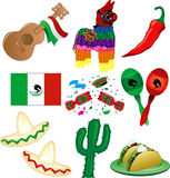 Mexican Party. Vector Illustration of 9 Mexican party icons Royalty Free Stock Photo