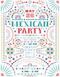Mexican party announce poster template with Mexican national decorative elements. Customized Western style text for invitation for fiesta party. Mexico folk vector illustration