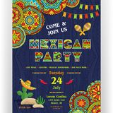Mexican party announcing poster template. Text customized for invitation. Ornate letters, maracas and cactus in sombrero. Ethnic ornaments for border and Royalty Free Stock Image