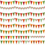 Mexican party bunting. Horizontally seamless mexican party bunting pack, isolated on white Royalty Free Stock Photography