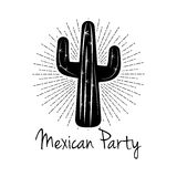Mexican Party Cactus.  On White Background Royalty Free Stock Images
