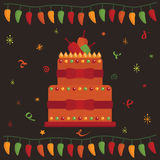 Mexican party cake. Mexican party greeting card design with cake Stock Photography
