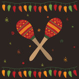 Mexican party card. Greeting card design in a mexican style with maracas Stock Photo