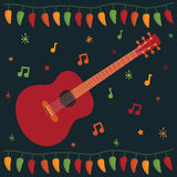 Mexican party card. Greeting card design in a mexican style with guitar Royalty Free Stock Image