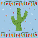 Mexican party card. Greeting card design in a mexican style with cactus Stock Image