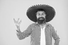 Mexican party concept. Celebrate traditional mexican holiday. Lets have fun. Mexican guy happy festive outfit ready to. Celebrate. Man bearded cheerful guy wear stock photo