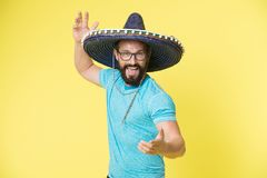 Mexican party concept. Man cheerful happy face in sombrero hat celebrating yellow background. Guy with beard looks. Festive in sombrero. Party and holiday royalty free stock photo