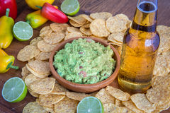 Mexican Party Food. Beer chips stock photo