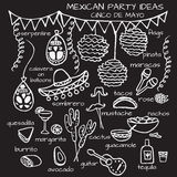 Mexican party ideas, cinco de mayo elements Stock Images