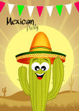 Mexican party. Illustration of Mexican cactus in the desert Stock Images