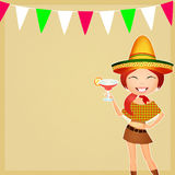 Mexican party. Illustration of Mexican girl with margarita Stock Photo