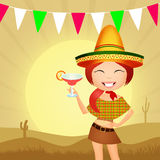 Mexican party. Illustration of girl with sombrero Stock Photos