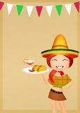 Mexican party. Illustration of Mexican girl with tacos Royalty Free Stock Image