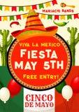 Mexican party invitation for Cinco de Mayo holiday. Viva Mexico fiesta party invitation banner for Cinco de Mayo holiday celebration. Mexican festival sombrero Stock Photo