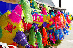 Mexican party pinatas tissue colorful paper Stock Images