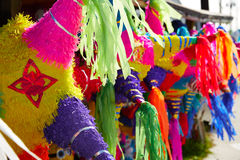 Mexican party pinatas tissue colorful paper Royalty Free Stock Photos