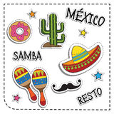 Mexican party sticker applique. Mexico style. Vector illustration set.  Royalty Free Stock Images