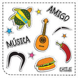 Mexican party sticker applique. Mexico style. Vector illustration set. musica means music. amigo means friend, chile. Means chilli pepper Royalty Free Stock Image