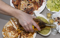 Mexican party. tequila and traditional Mexican dishes Stock Image
