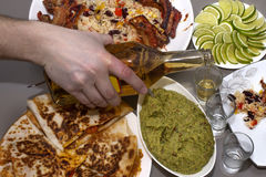 Mexican party. tequila and traditional Mexican dishes Royalty Free Stock Images