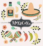 Mexican party vector decoration. Vector cartoon mexican set of illustration of chilli papers, tequilla slice of lemon, sambrero, maracases and caballito Royalty Free Stock Photo