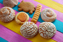 Mexican pastries concha puerquito ojo buey. In a colorful wood background Royalty Free Stock Photos