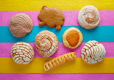 Mexican pastries concha puerquito ojo buey Royalty Free Stock Images