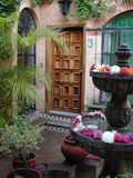 Mexican Patio Entry. With a nice fountain and flowers. This was in a really pleasant bed and breakfast in Guadalajara, Mexico Stock Image