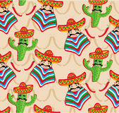 Mexican pattern with cactus, hat and chill illustration Royalty Free Stock Images