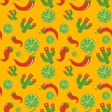 Mexican pattern vector illustration design. Mexican pattern with lime pepper cactus Cinco De Mayo hand drawn design vector illustration Royalty Free Stock Photography