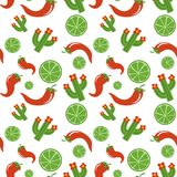 Mexican pattern vector illustration design. Mexican pattern with lime pepper cactus Cinco De Mayo hand drawn design vector illustration Royalty Free Stock Images
