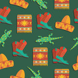 Mexican pattern. Seamless mexican pattern with sombrero, blanket, lizard and cowboy boots, with clipping path Stock Photo