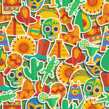 Mexican pattern. Seamless mexican themed pattern decoration with clipping path and transparencies royalty free illustration
