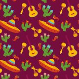 Mexican pattern vector illustration design. Mexican pattern with sombrero guitar maracas cactus pepper Cinco De Mayo hand drawn design vector illustration Stock Photography
