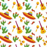 Mexican pattern vector illustration design. Mexican pattern with sombrero guitar maracas cactus pepper Cinco De Mayo hand drawn design vector illustration Royalty Free Stock Photos