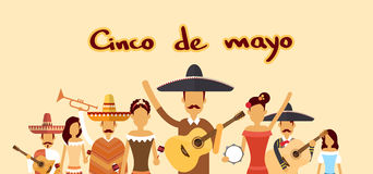 Mexican People Group Wear Traditional Clothes Celebrate Mexico National Holiday Cinco De Mayo. Flat Vector Illustration Stock Photo