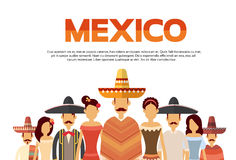 Mexican People Group Wear Traditional Clothes Mexico Banner With Copy Space Royalty Free Stock Images