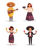 Mexican people. Isolated art vector illustration