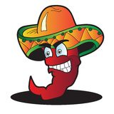 Mexican pepper cartoon character isolated on white Stock Photography