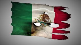 Mexican perforated, burned, grunge waving flag loop alpha stock video footage