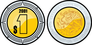 Mexican peso. An illustration of a mexican peso coin Royalty Free Stock Photo