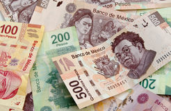 Mexican Peso bank notes background. Mexican Pesos, bank notes, currency bills, money background Stock Photography